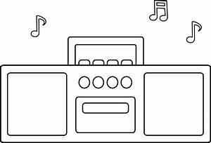 Simple Radio Line Art - Free Clip Art