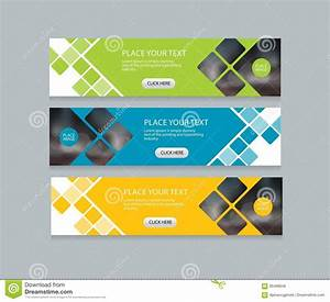 Three Color Web Banner Design Template Background Set