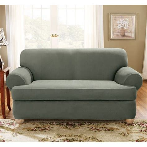 two cushion sofa slipcover sure fit stretch suede loveseat 2 piece t cushion
