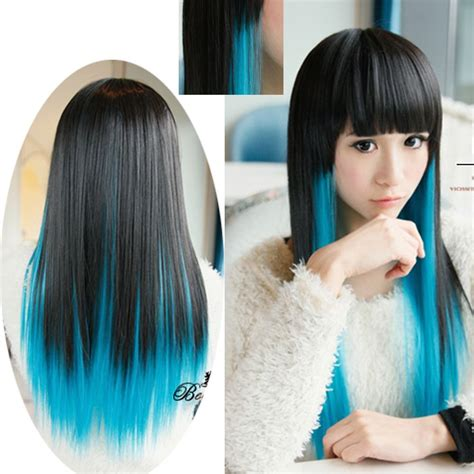 Fashion Party Lady Womens Long Black Blue Ombre Straight