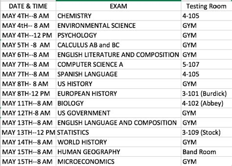 ap exam schedule sunlake high school
