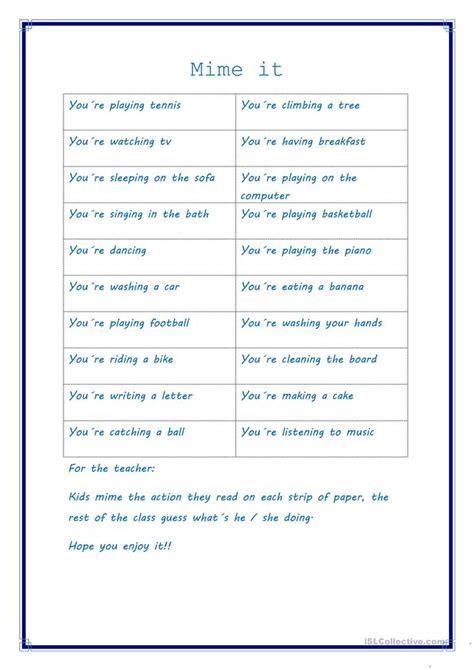 mime  worksheet  esl printable worksheets