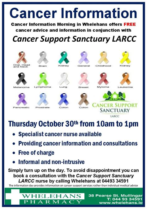 cancer awareness day whelehans pharmacy cancer support centre