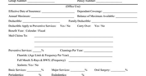 insurance verification form for chiropractic office dental insurance verification forms dental insurance