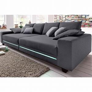canape profond 4 places avec leds en tissu aspect tweed With tapis chambre enfant avec canapé convertible pas cher livraison gratuite