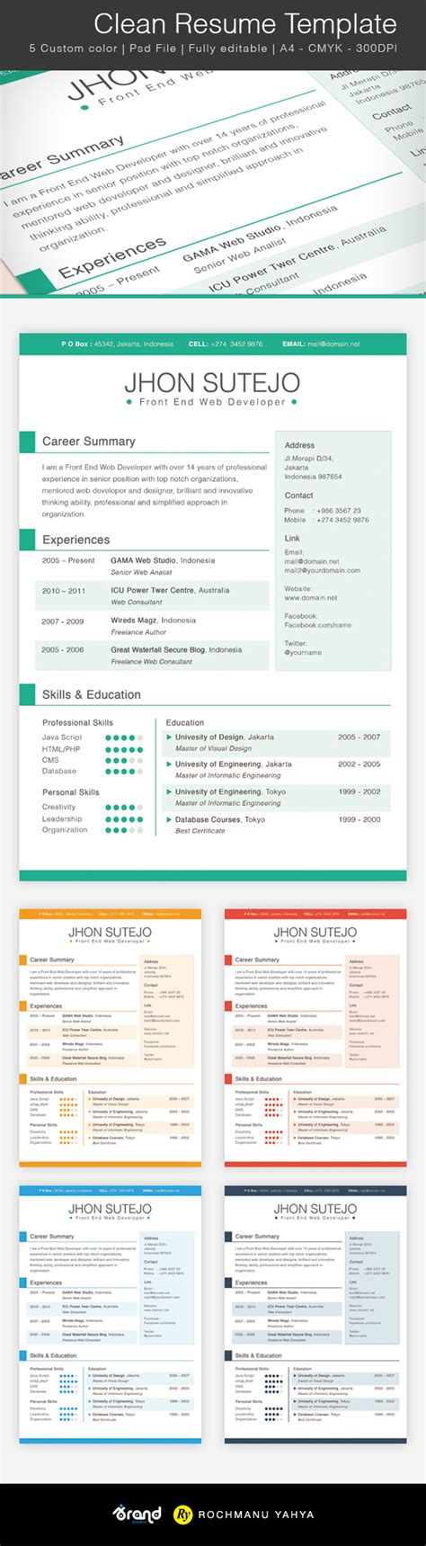 free clean resume template 5 colors