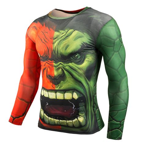 long sleeve incredible hulk compression shirt superhero