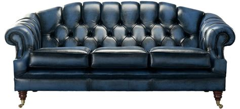 Ebay Settees Leather by Chesterfield 3 Seater Antique Blue Leather Sofa