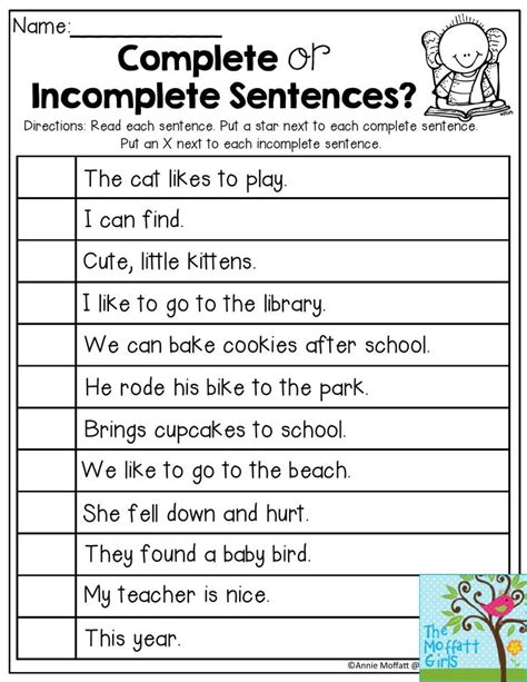 complete or incomplete sentences read each sentence and