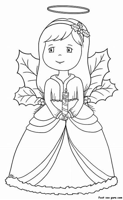 Coloring Angel Pages Simple Christmas Basic Clipart