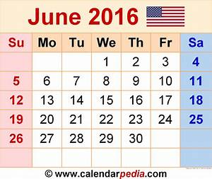 June 2016 Calendars for Word, Excel & PDF