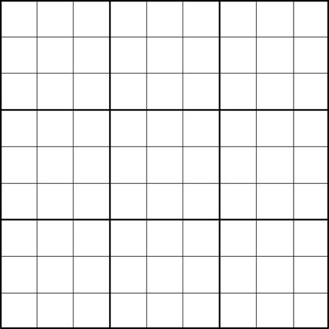 sudoku template blank sudoku grid template