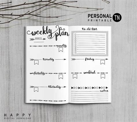 printable travelers notebook weekly insert personal tn