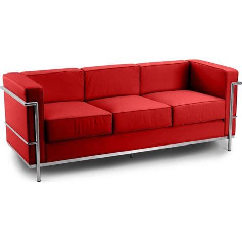 le corbusier canape canapé 3 places cuir inspiré lc2 le corbusier lestendances fr