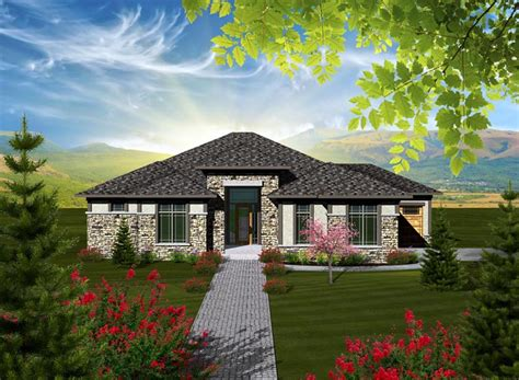 prairie style style house plan    bed  bath