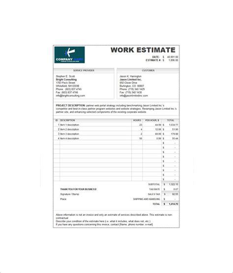 estimate invoice templates  word  excel