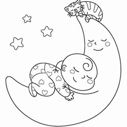 Coloring Bebe Lua Dormindo Desenho Sleeping Colorir