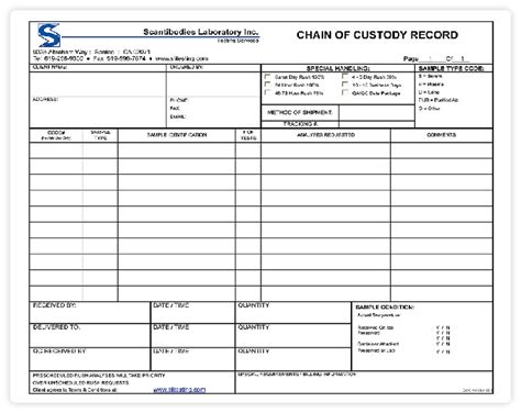 Testing Chain Of Custody Form Template Templates Chain Of Custody Template Chain Of Custody Form