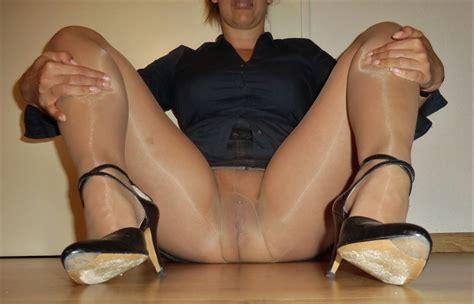 Alysha Flashing Her Pierced Pussy In Sheer Pantyhose