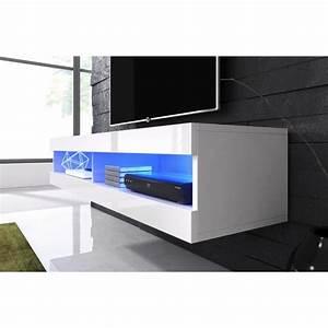 Meuble Tv Suspendu Led : meuble tv suspendu blanc mat fa ade laqu avec led achat vente meuble tv meuble tv suspendu ~ Melissatoandfro.com Idées de Décoration