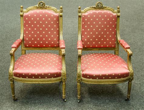 pair louis xvi style napoleon iii period fauteuils