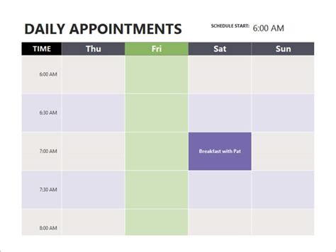 appointment schedule templates   word excel