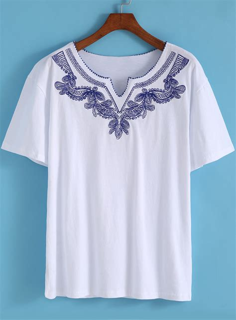 sleeve embroidery shirt white v neck sleeve embroidered t shirt shein
