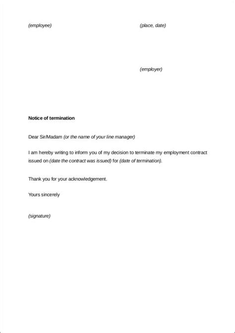 contract termination letter samples templates