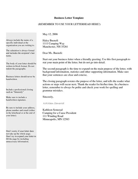 buisness letter template free business letter template format sample get