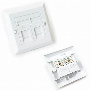 Double Port Cat6 Idc Wall Outlet Face Plate