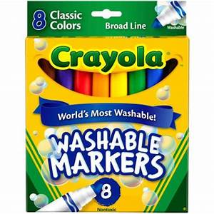 Crayola Washable Markers, Broad Point, Classic Colors, 8 ...