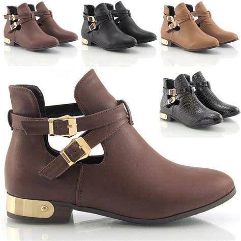 womens ladies flat  heel buckle cut  chelsea ankle