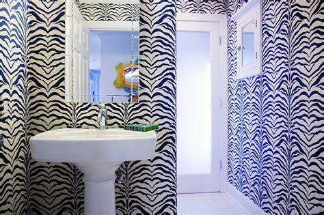 zebra wallpaper contemporary bathroom mona ross