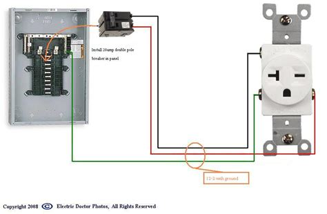 how to wire a 20 240 volt outlet from a fuse box