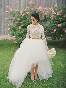 fancy two piece long sleeves hi low organza wedding dress With two piece long sleeve wedding dress