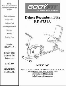 Impex Fitness Bf 6731a Owners Manual Parts List