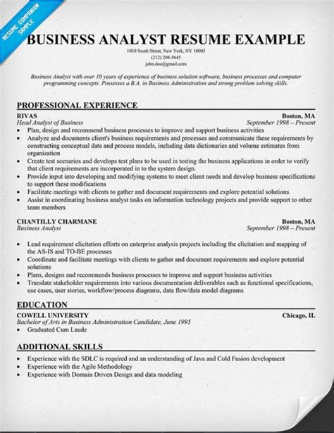 business analyst resume sle resume cover letter template