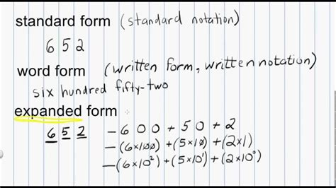 Math Numeration Standard Form, Word Form, And Expanded Form For Whole Numbers Youtube