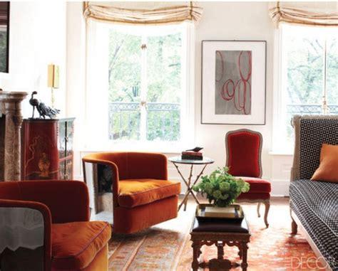 burnt orange velvet chair living room