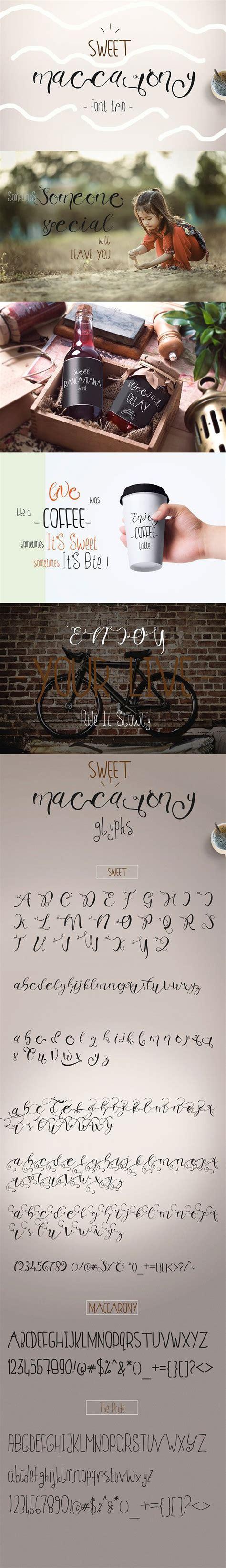 sweet maccarony font trio  fonts  images cool