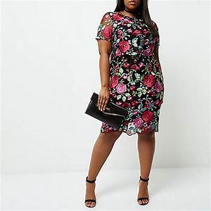 plus pink floral embroidered midi dress dresses sale With robe fleurie grande taille