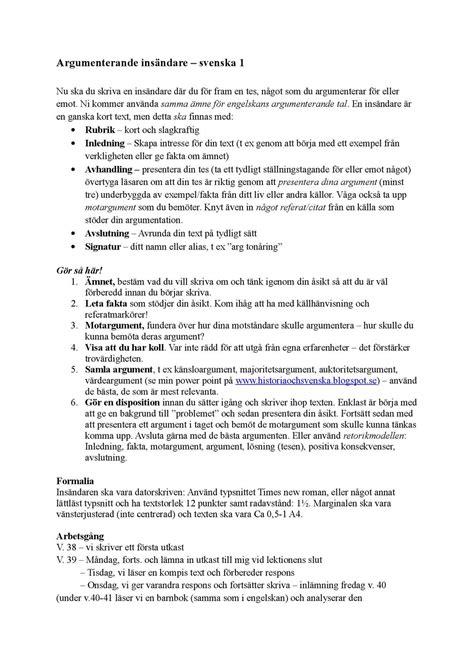 Calaméo - Argumenterande Insändare Med Exempel