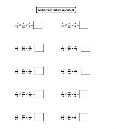sample multiplying fractions worksheet templates