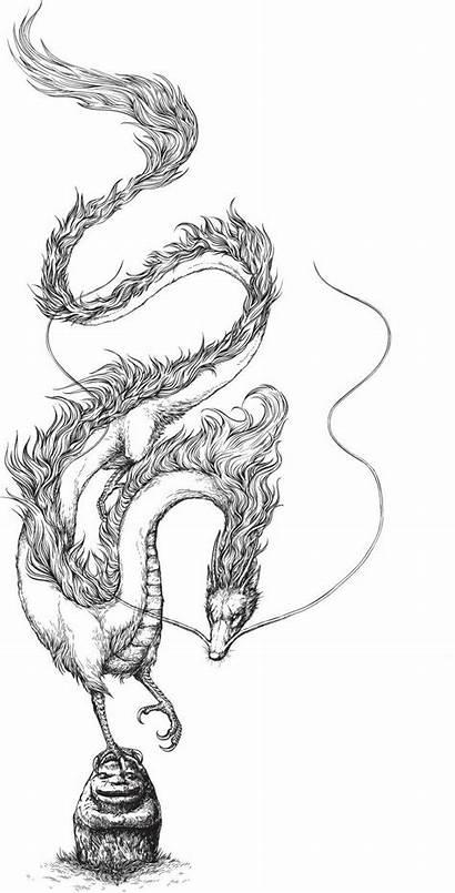 Dragon Spirited Away Ghibli Studio Outline Drawing
