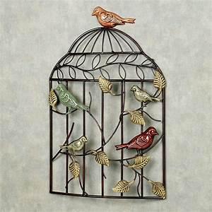 Bird sanctuary cage metal wall art