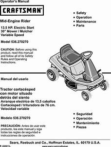 Craftsman 536270270 User Manual Riding Mower Manuals And