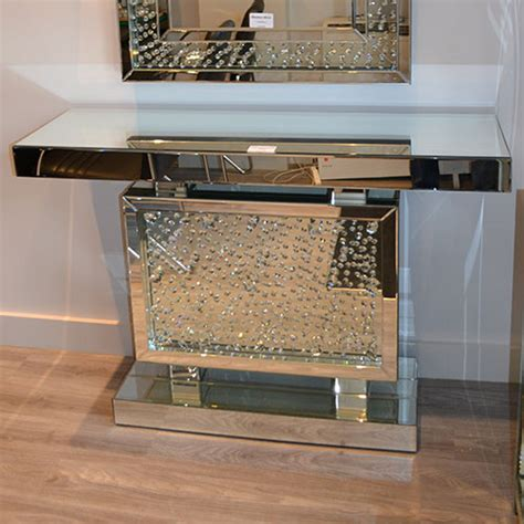 rhombus crystal mirrored console table   brands