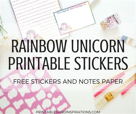 rainbow unicorn stickers printable labels super