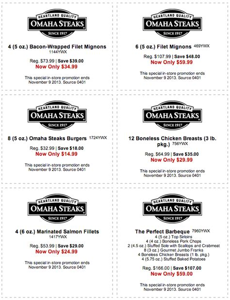 OmahaSteaks.com: 6 Printable Coupons