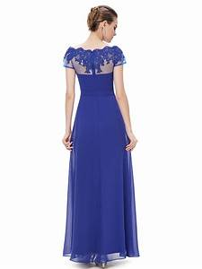 Royal Blue High Neck Illusion Prom Dresses With Sleeves ...